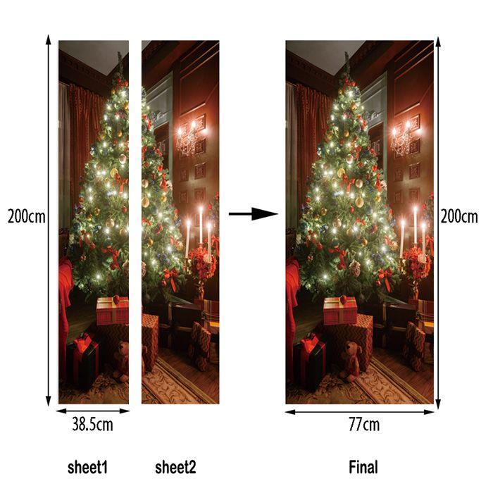 Christmas Tree Present Pattern Door Art Stickers