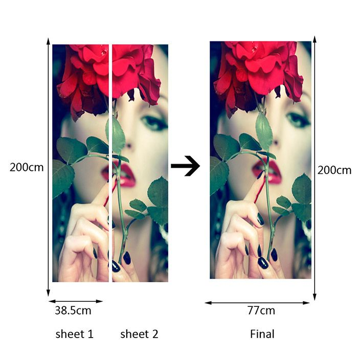Alluring Lady and Flower Patterned Door Art Stickers