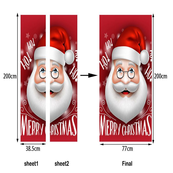 Christmas Santa Head Pattern Door Art Stickers