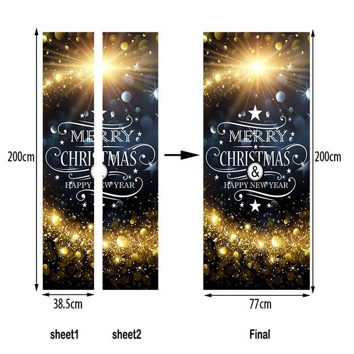 Christmas Starlight Greetings Pattern Door Art Stickers