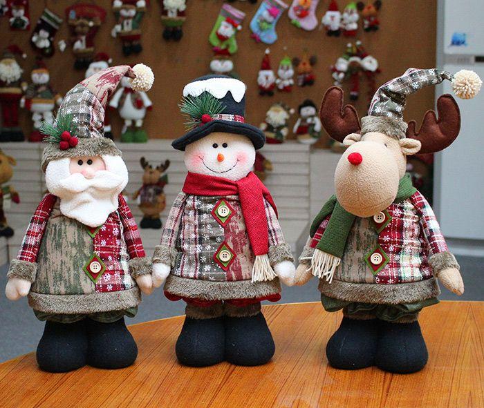 Santa Claus Reindeer Snowman Stretchable Doll Christmas Decoration