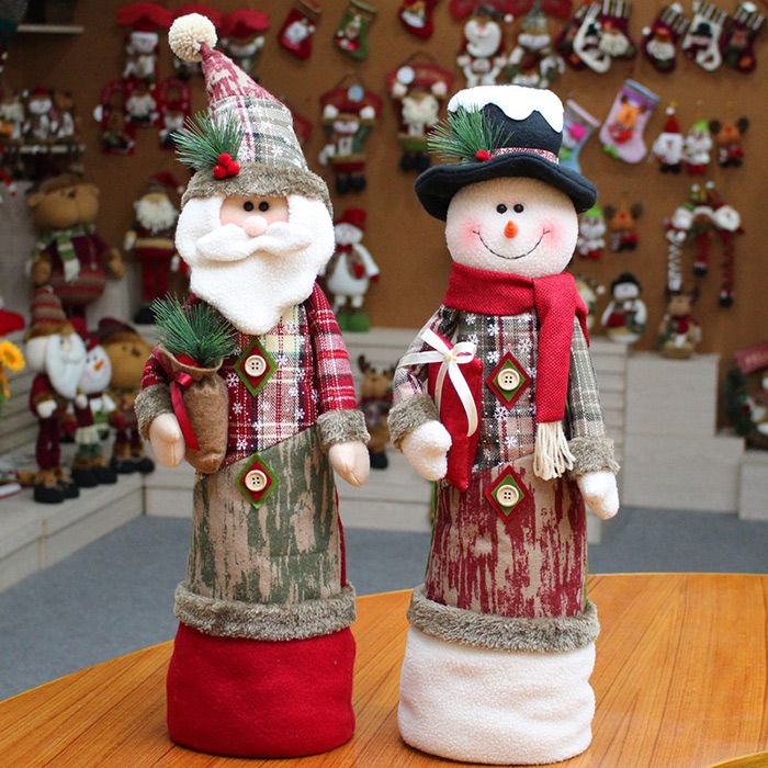 Snowman Santa Claus Stretchable Cloth Doll Ornament Christmas