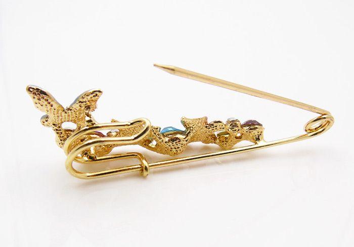 Faux Diamond Butterfly Brooch