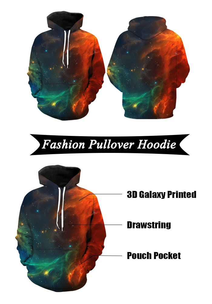 3D Ombre Galaxy Print Pullover Hoodie