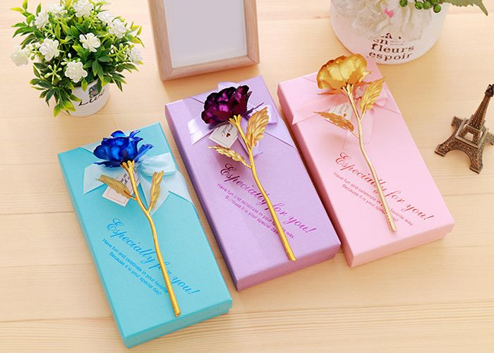Valentine's Day Gift Artificial Plated Rose Flower with Soap Flowers In A Box