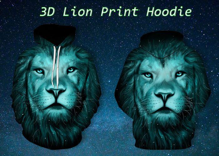 3D Lion Galaxy Print Pullover Hoodie