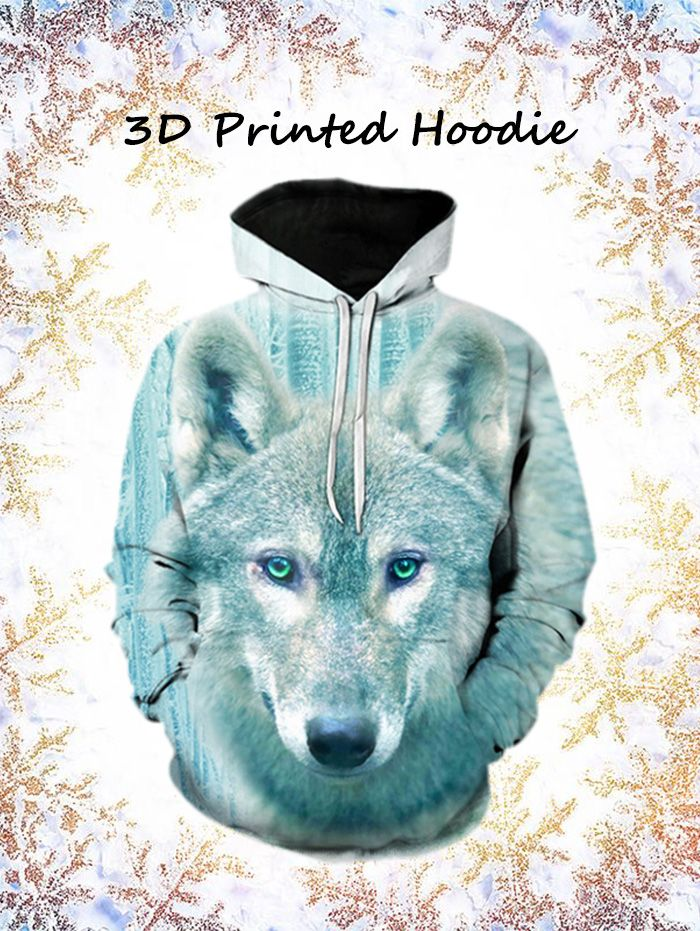 3D Wolf Print Pullover Hoodie