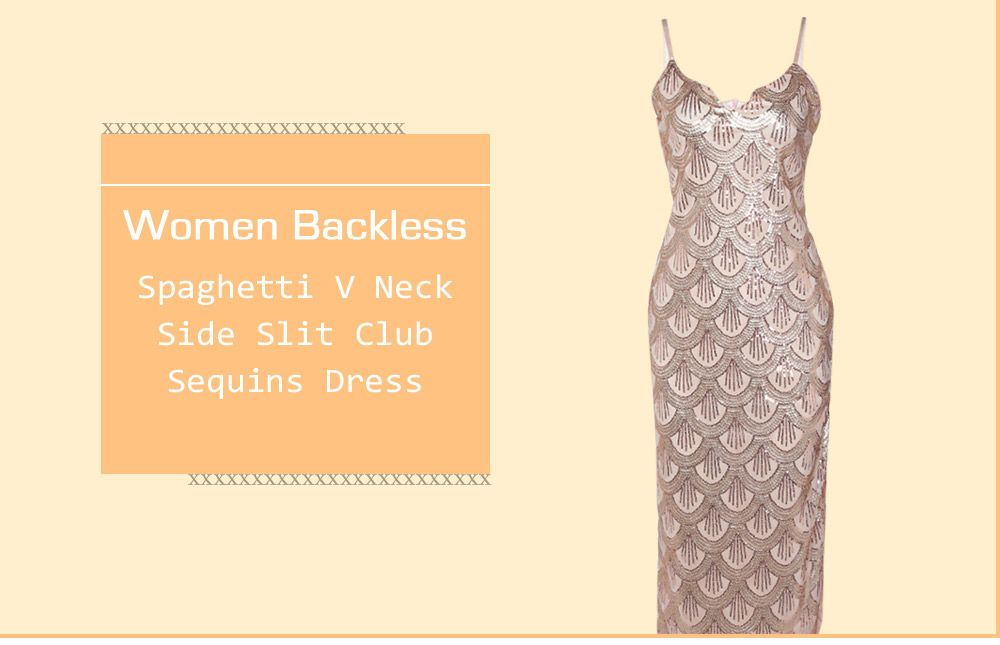 Sexy V Neck Backless Spaghetti Sparkly Glitter Sequins Dress Party Club Wearing