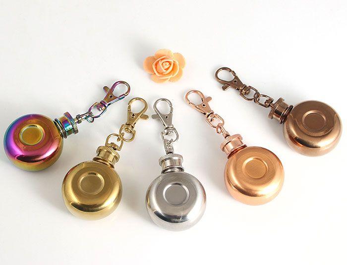 1oz Mini Stainless Steel Keychain Hip Flask