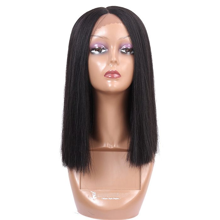 Short Center Parting Straight Synthetic Lace Front Wig