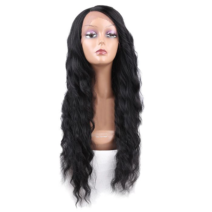 Long Side Parting Lace Front Wavy Synthetic Wig