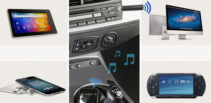 USB Recharge Mini Multipurpose Car Phone Wireless Bluetooth Receiver