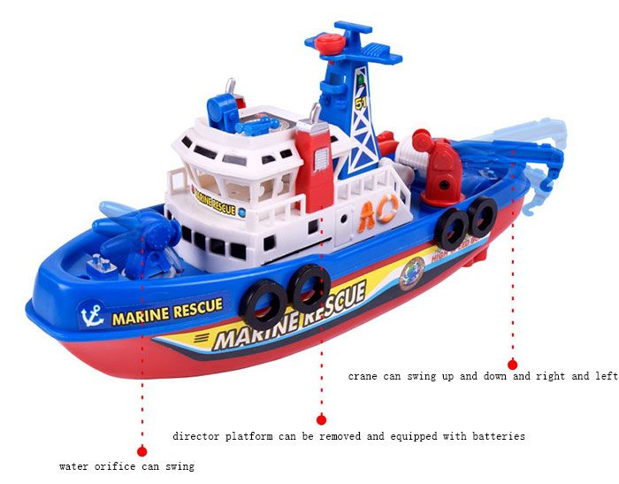 Children Bathing Water Toy Music Light Electric Ship Marine Fireboat(Without Batteries)