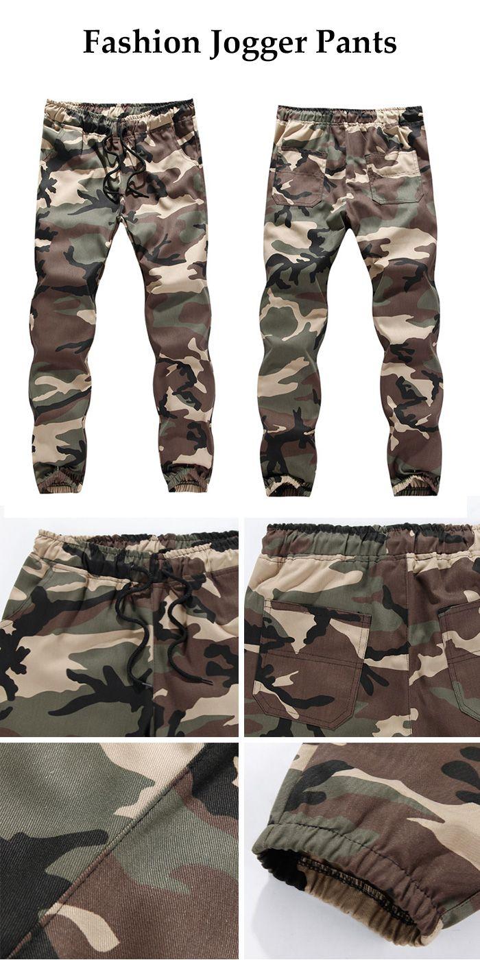 Drawstring Beem Feet Camouflage Jogger Pants