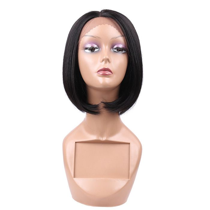 Short Center Parting Straight Bob Lace Front Synthetic Wig