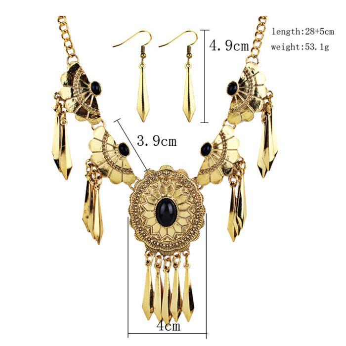 Vintage Boho Style Faux Gem Embellished Fringed Necklace Earrings Set