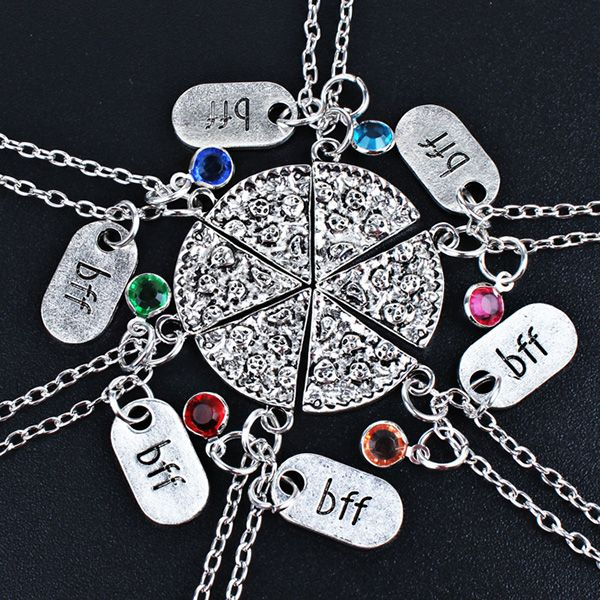 Funny BFF Pattern Rhinestone Decorated  Friendship Necklace