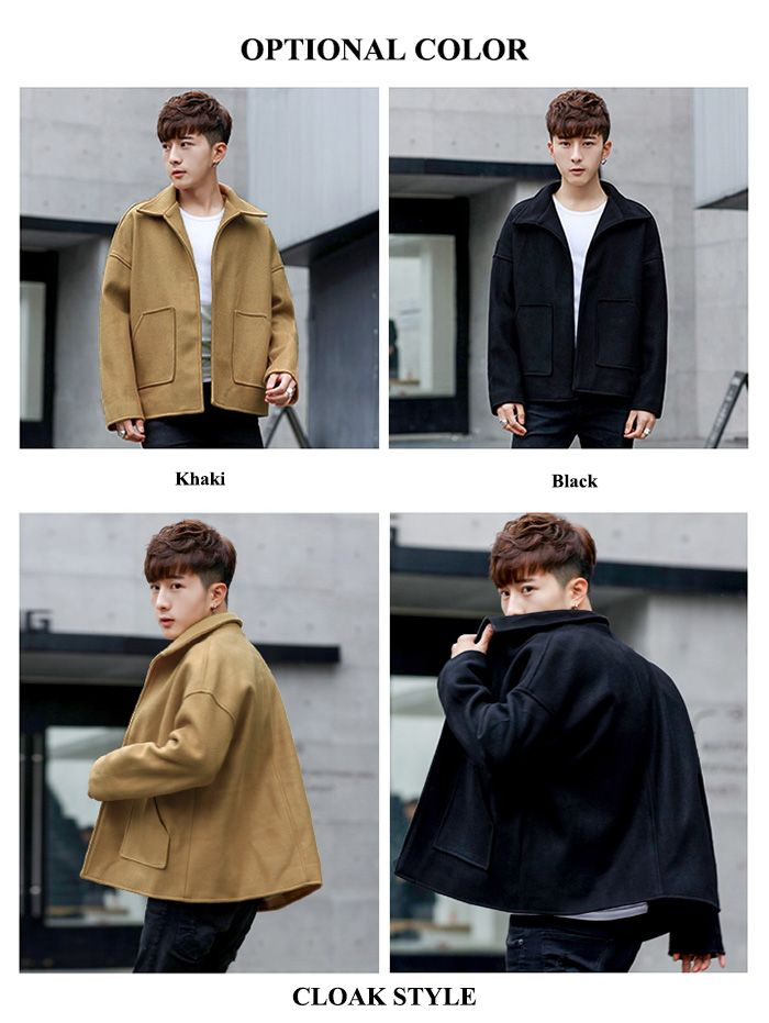 Turndown Collar Pockets Cloak Woolen Jacket