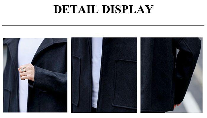 Turndown Collar Pockets Cloak Woolen Jacket