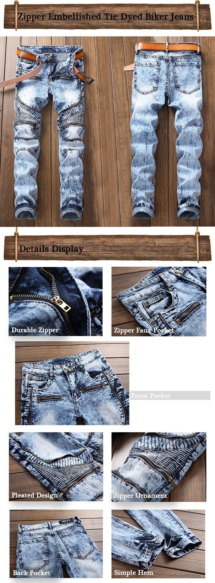 Zipper Embellished Tie Dyed Biker Jeans