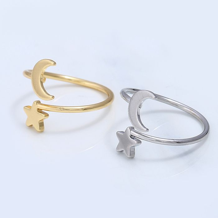 Moon and Star Metal Cuff Ring