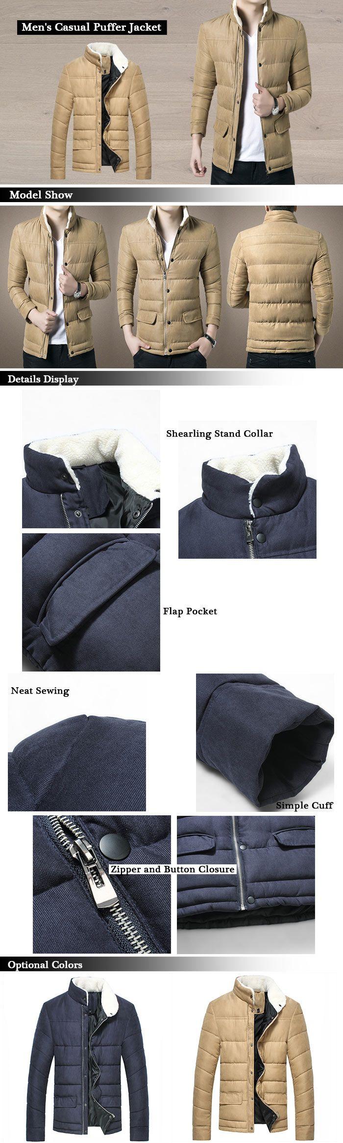 Stand Collar Zip Up Puffer Jacket