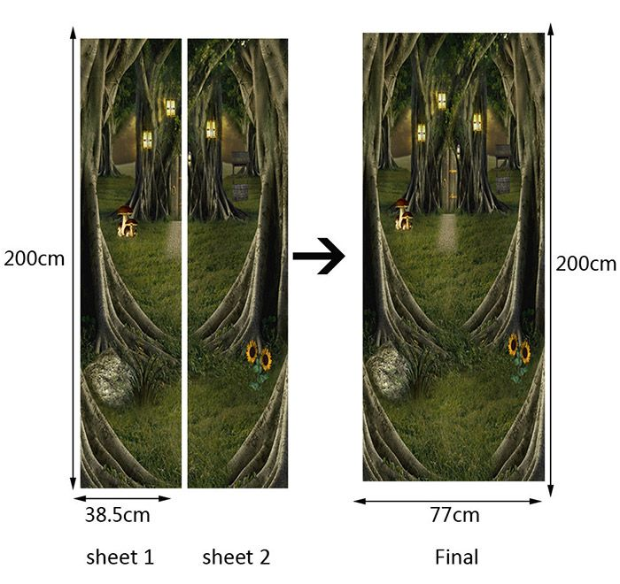 Fairytale Tree House Pattern Decorative Door Stickers