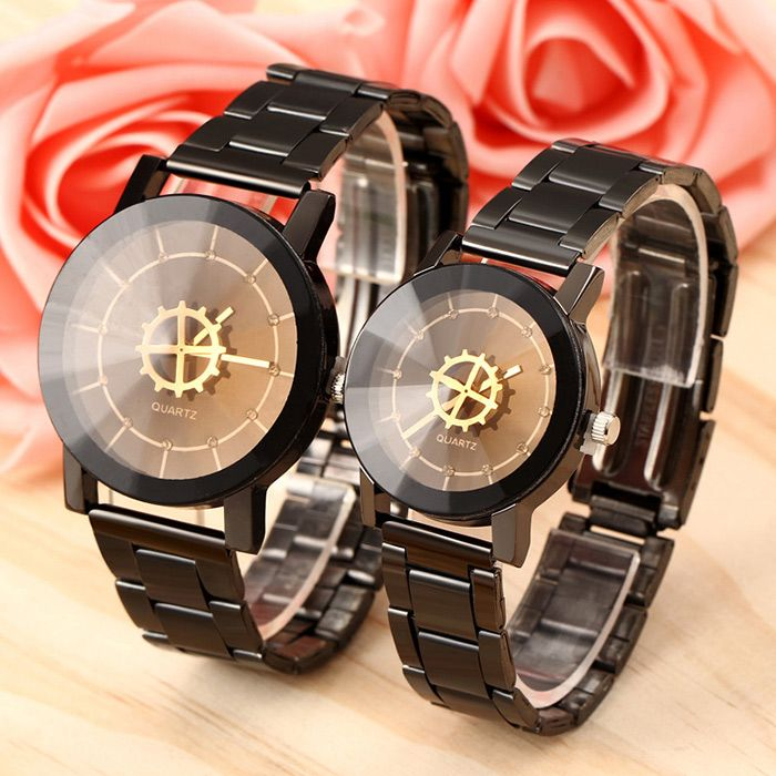 Rhinestone Gear Face Steel Strap Quartz Watch