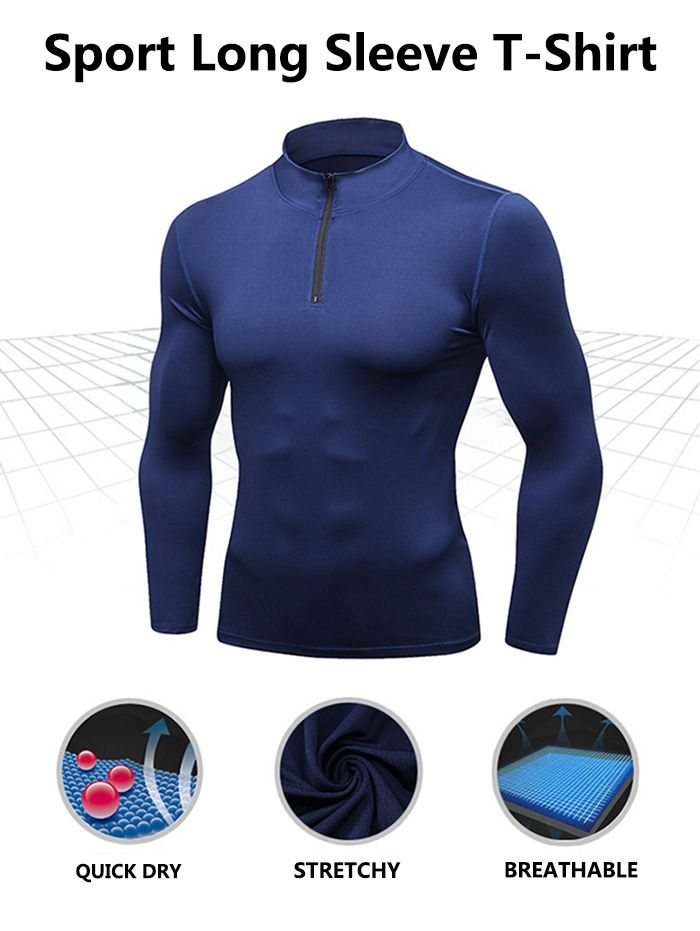 Stand Collar Half Zip Quick Dry Stretchy T-shirt