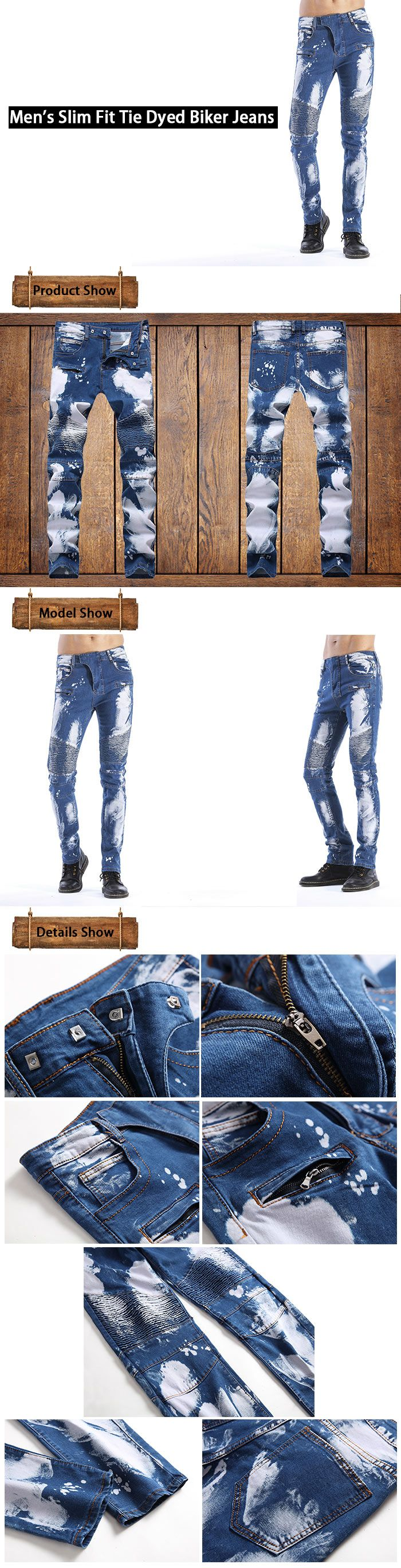 Slim Fit Tie Dyed Biker Jeans