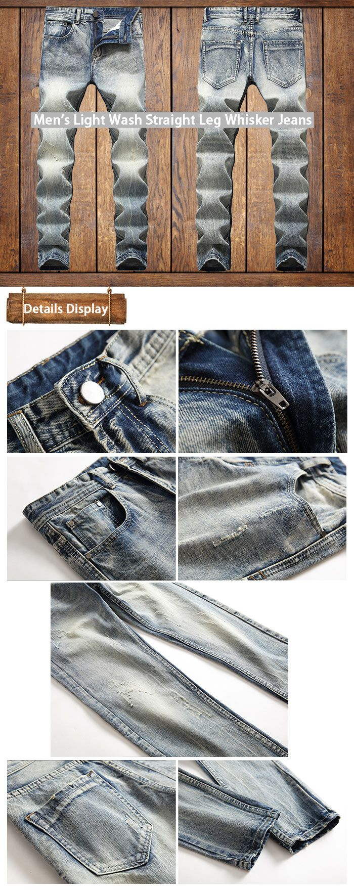 Light Wash Straight Leg Whisker Jeans