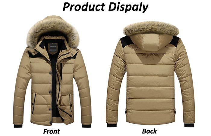 Faux Fur Trim Hooded Puffer Jacketc