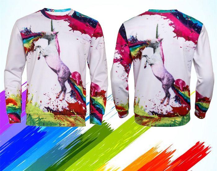 3D Colorful Splatter Paint Unicorn Print Sweatshirt