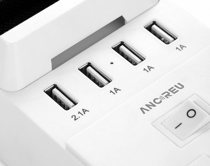 ANCREU Storage Power Strip with 4 USB Ports and 2 Outlets