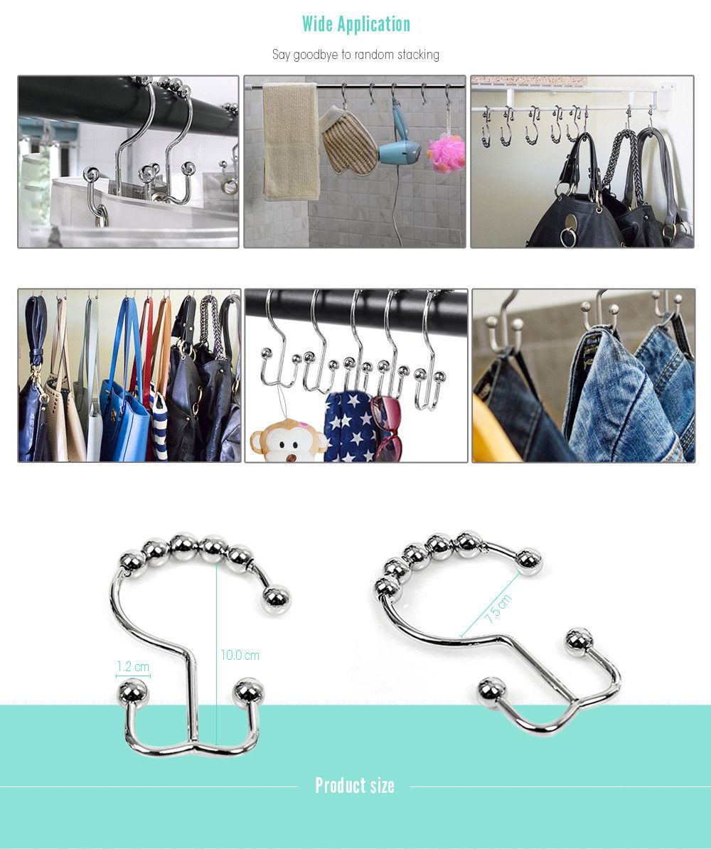 Stainless Steel Beads Two Sides Shower Curtain Hook 12pcs