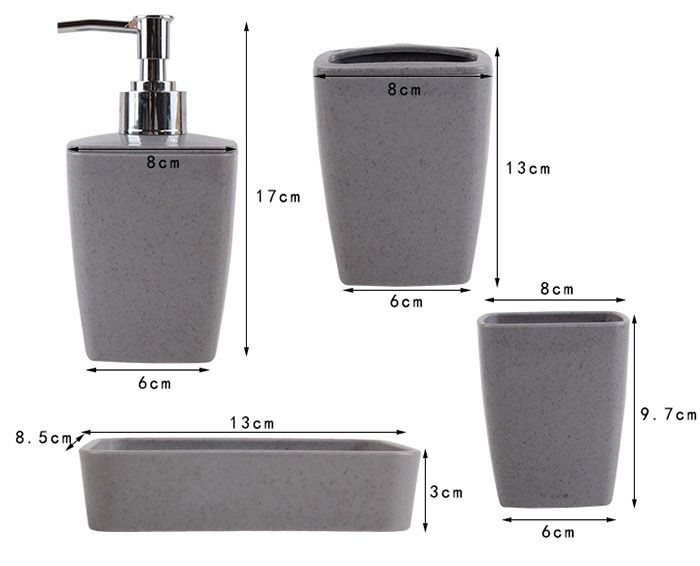 4PCS Environmentally Friendly Bathroom Accessory Set
