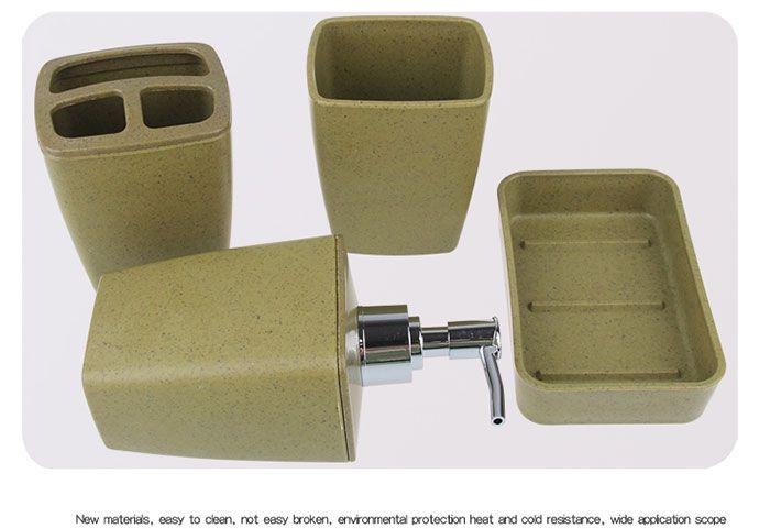 4Pcs Environmentally Friendly Fiber Bathroom Accessory Set