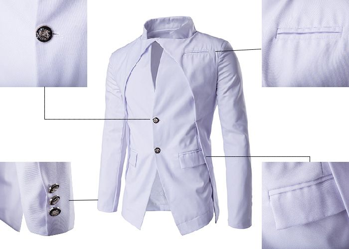 Stand Collar Irregular Design Single Breasted Blazer