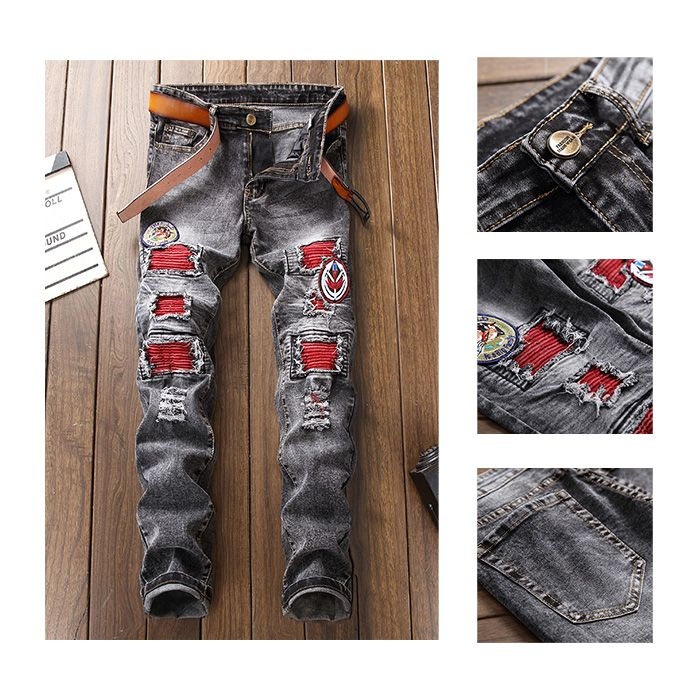 Zipper Fly Bleached Patch Appliques Ripped Jeans