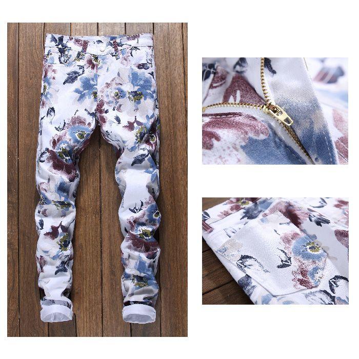Zipper Fly Florals Print Skinny Jeans
