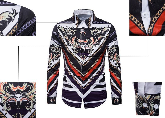 Turndown Collar Cover Placket 3D Florals Chain Print Shirt