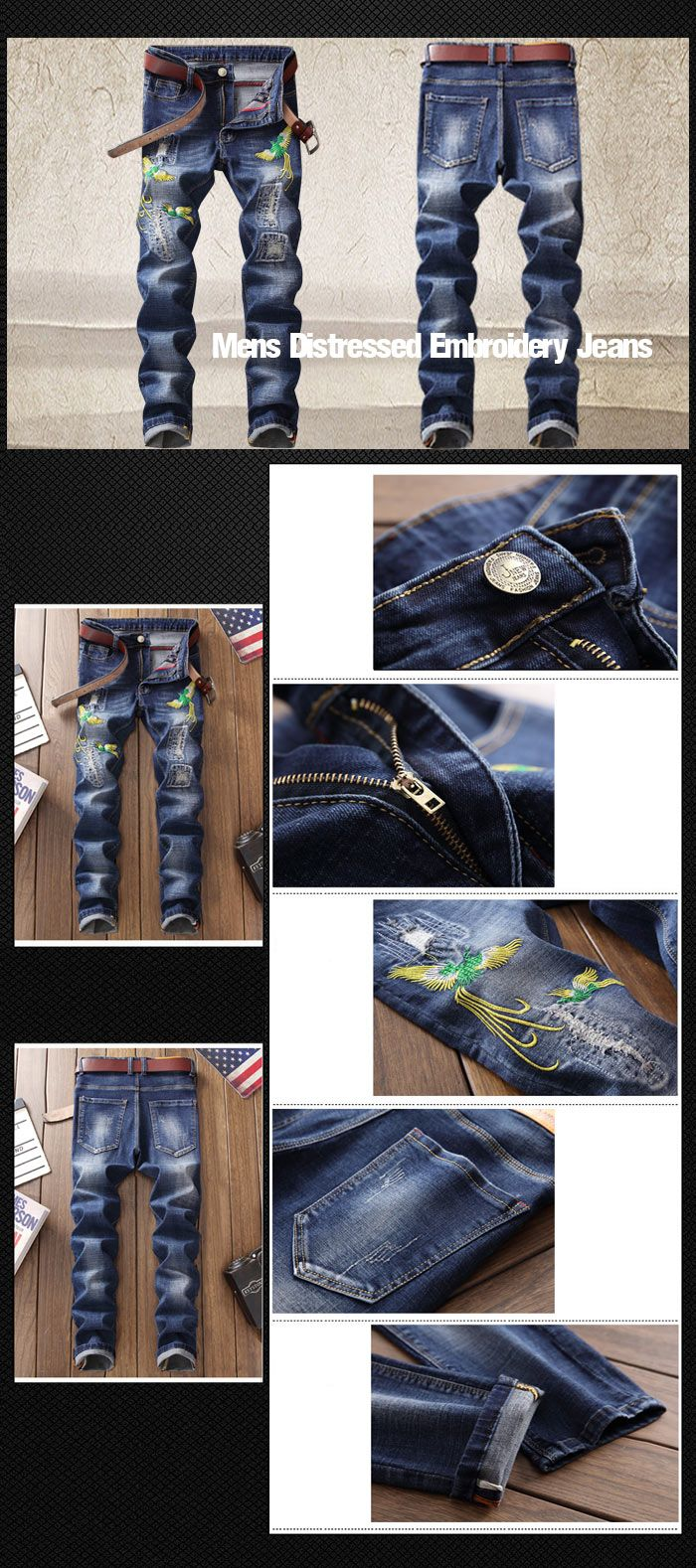 Phoenix Embroidery Distressed Jeans