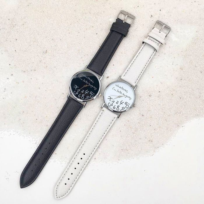 Letters Face Faux Leather Watch