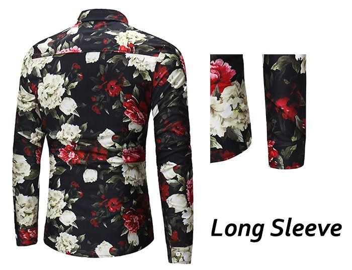 Turndown Collar 3D Flower Print Shirt