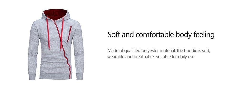 Oblique Zippers Color Block Fleece Hoodie