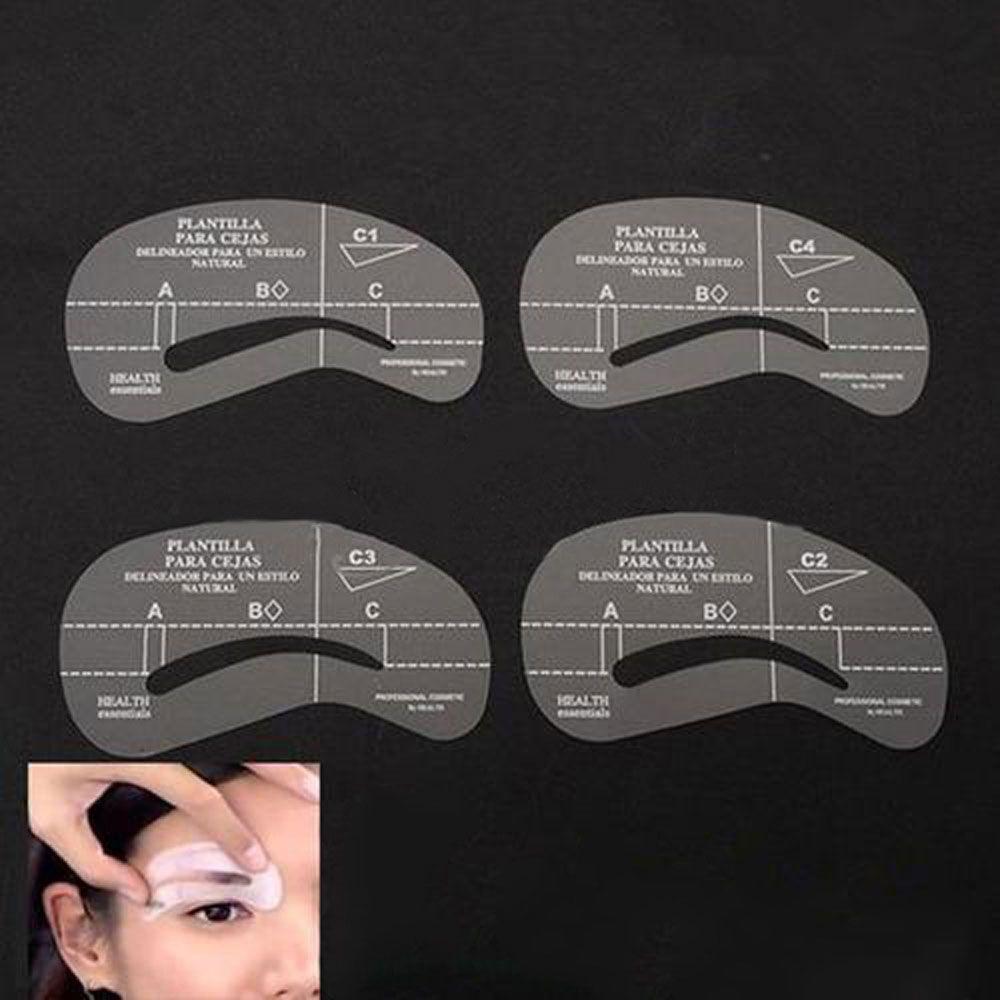 4pcs Stencils Set Card Template Model Eyebrow Thrush