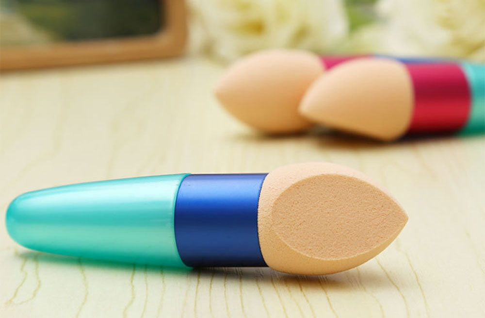 4pcs Makeup Cosmetic Drops Water Design Brushes Liquid Cream Foundation Sponge Lollipop
