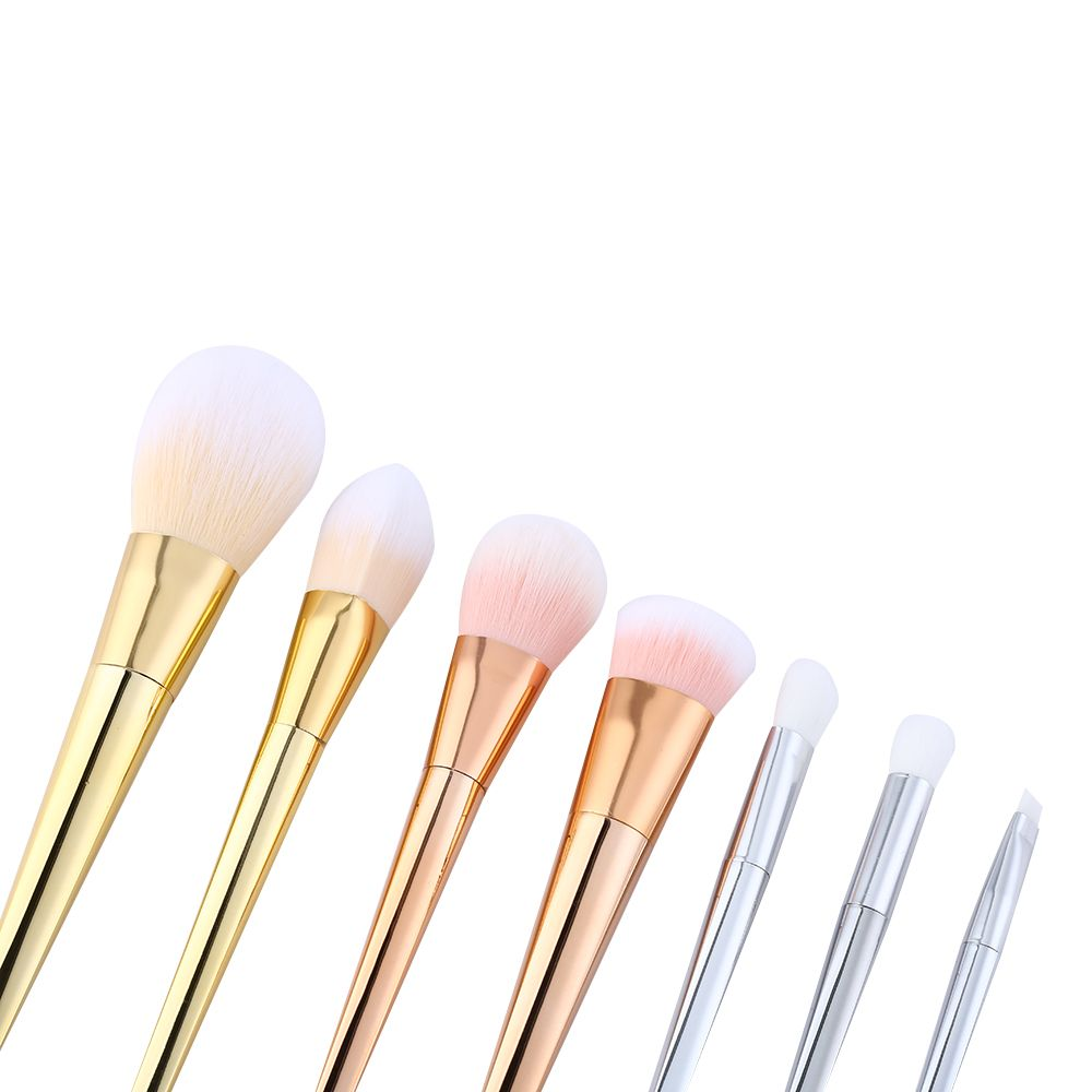 7pcs Synthetic Hair Silver Tube Makeup Brush Set
