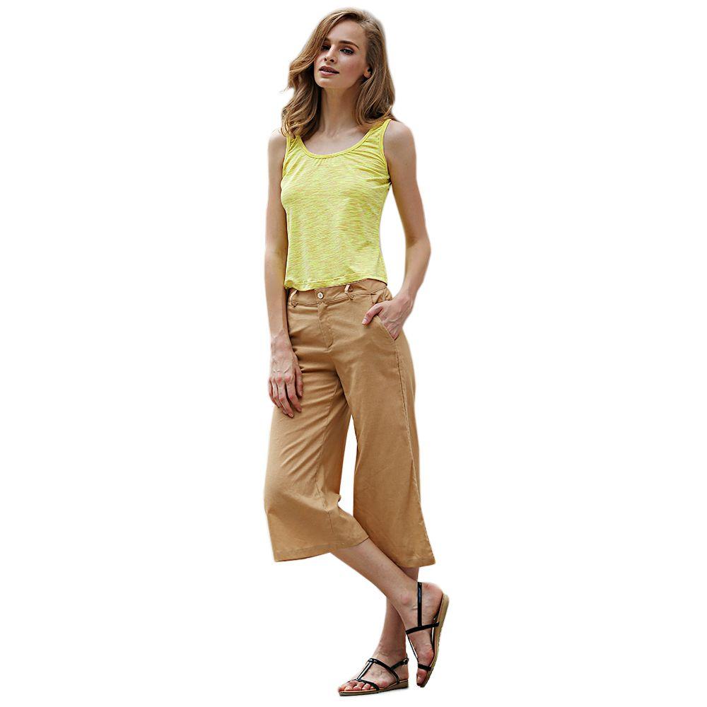 Simple Scoop Collar Sleeveless Cotton Blend Women Tank Top
