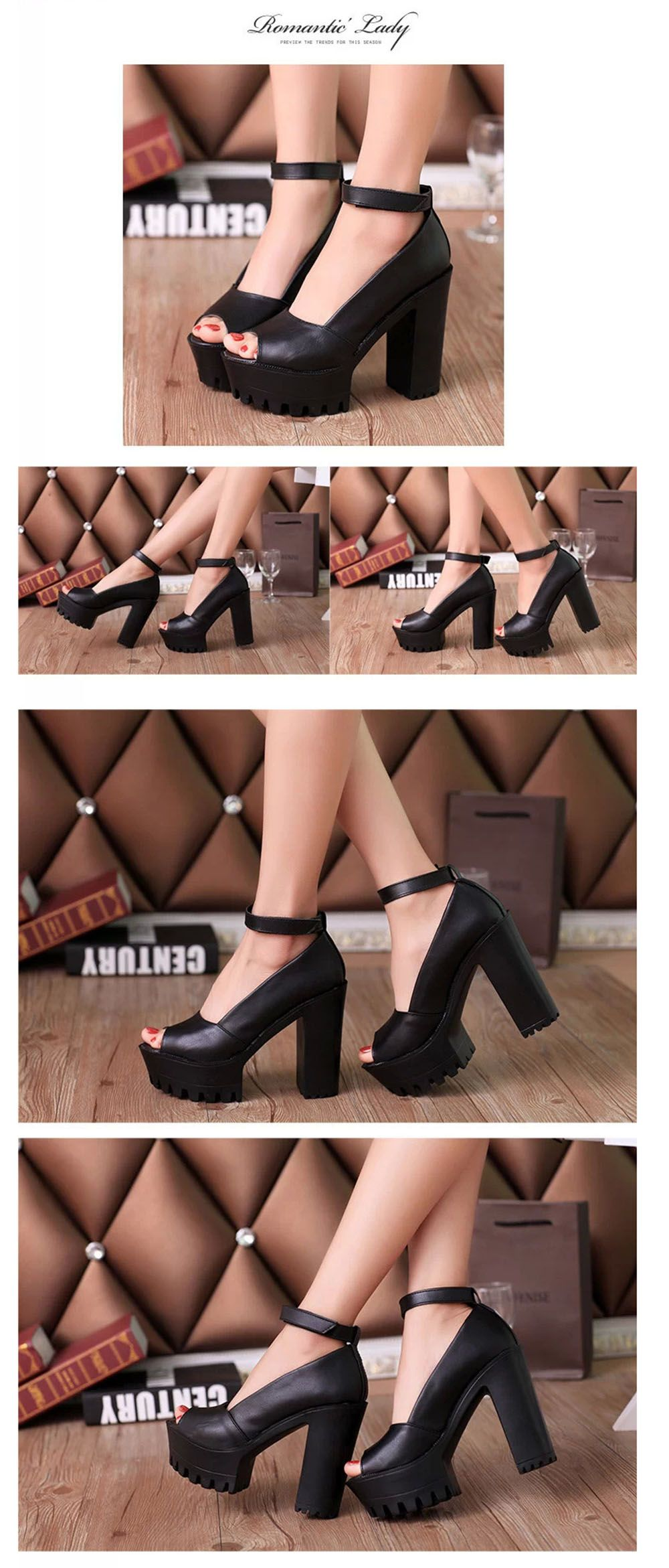 Summer Causal Open Toe Buckle High-Heeled Thick Waterproof Platform Sandals for Women